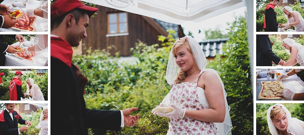Brautpaar backt Pizza Rolls