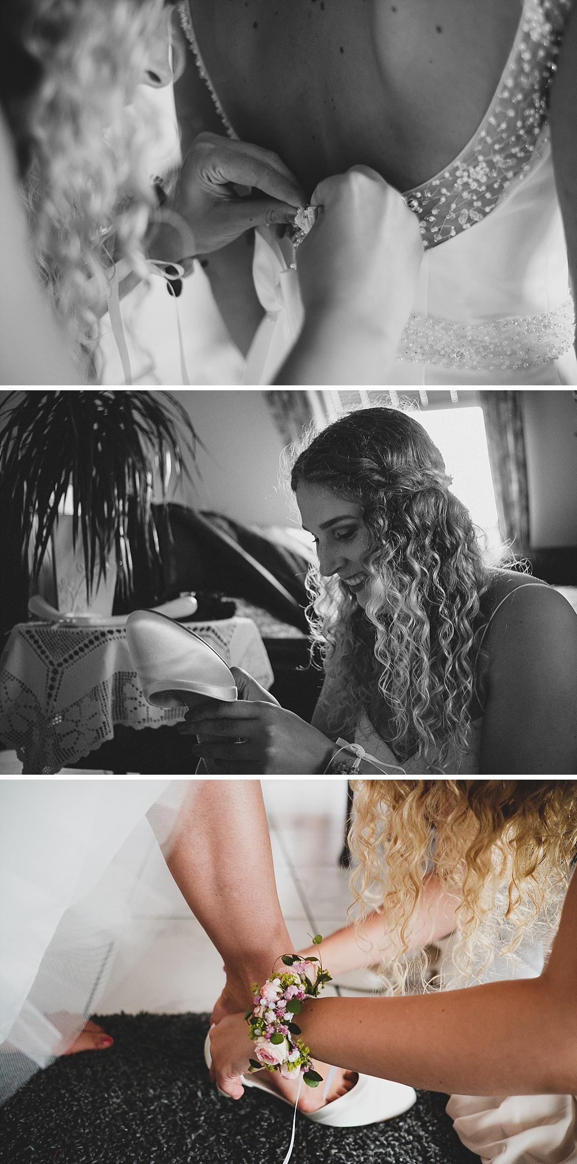 Braut beim Schuhe zubinden