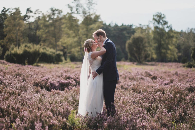 Brautpaar steht in der Lüneburger Heide