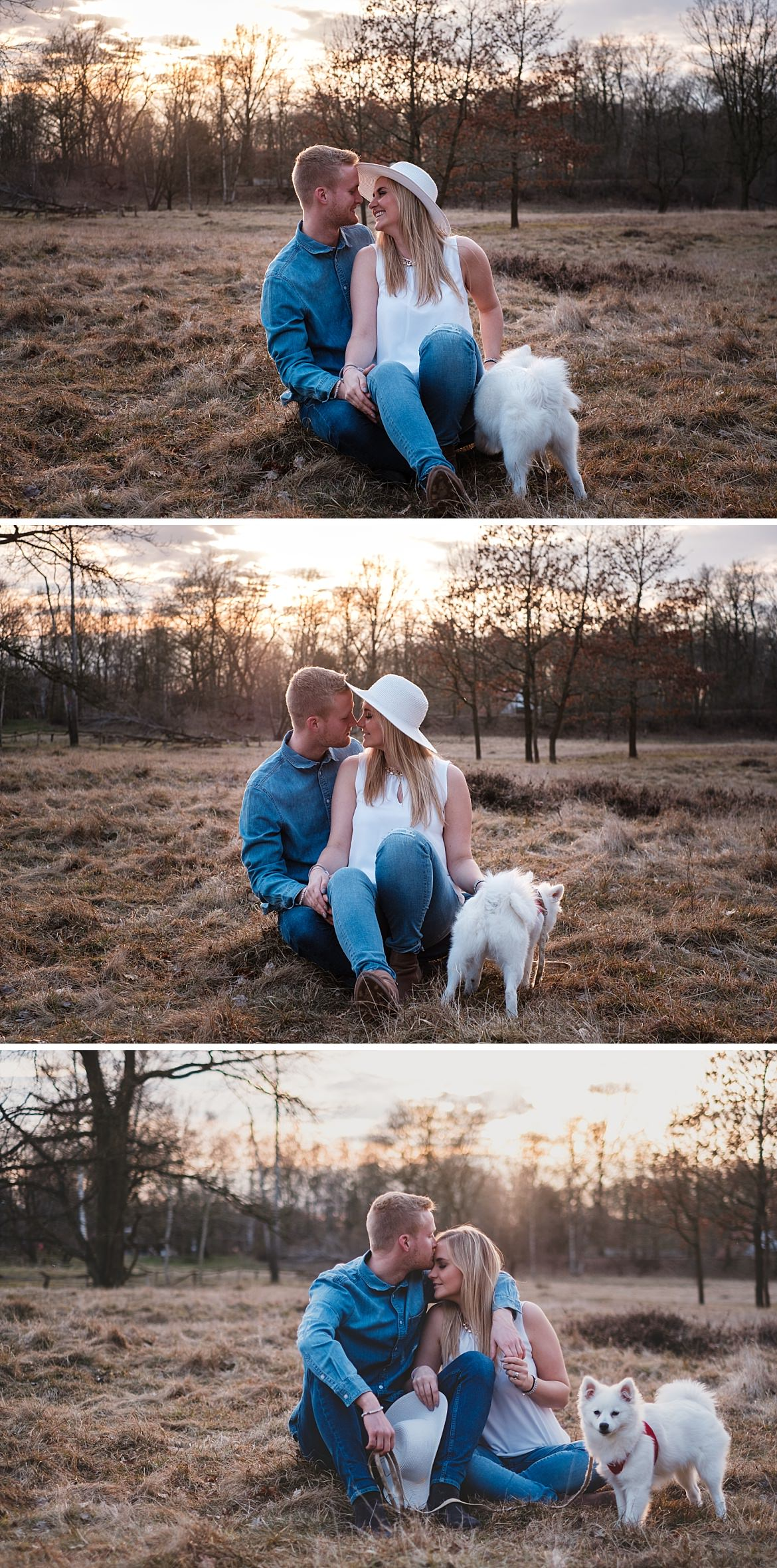 Pärchen mit Hund sitzt in den Boberger Dünen